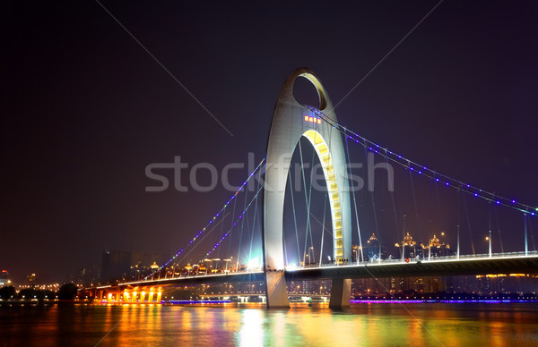 Night scene of Liede bridge with brilliant spot light in Guangzh Stock photo © cozyta
