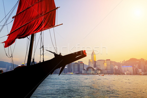 Traditional wooden sailboat / tourist junk sailing in Victoria H Stock photo © cozyta