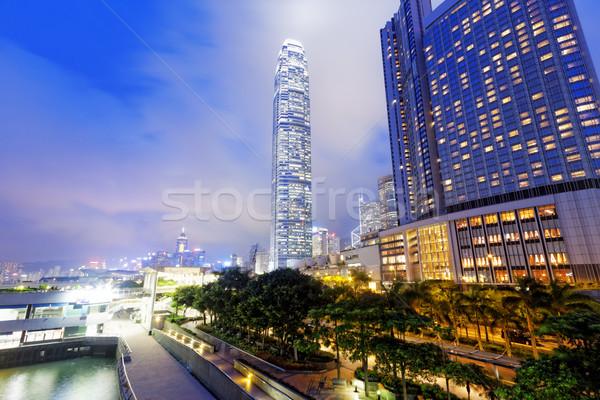 Kantoorgebouw nacht Hong Kong business kantoor gebouw Stockfoto © cozyta