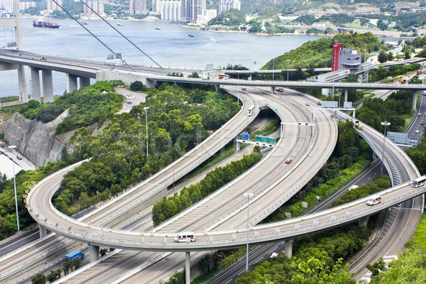 Aerial view of complex highway interchange in HongKong Stock photo © cozyta