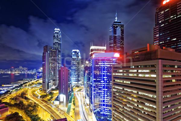 Hong Kong noite da cidade negócio viajar noite linha do horizonte Foto stock © cozyta