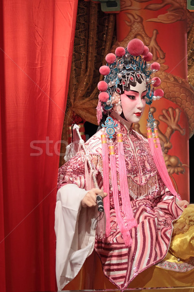 chinese opera dummy and red cloth as text space ,it is a toy,not Stock photo © cozyta
