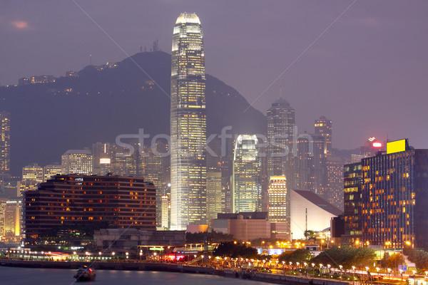 Night City wody miasta morza noc panoramę Zdjęcia stock © cozyta