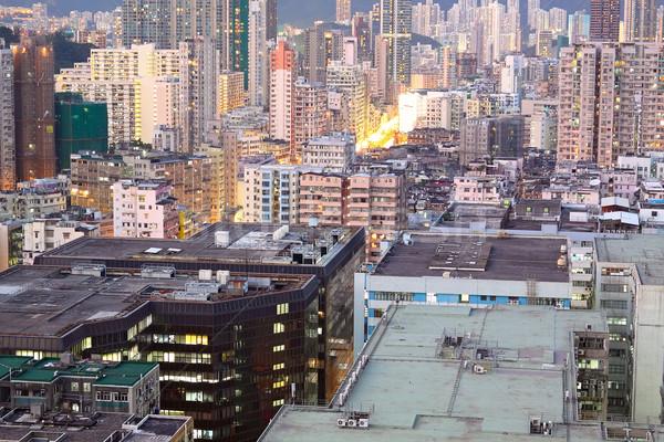 Urbanas puesta de sol momento cielo edificio ciudad Foto stock © cozyta