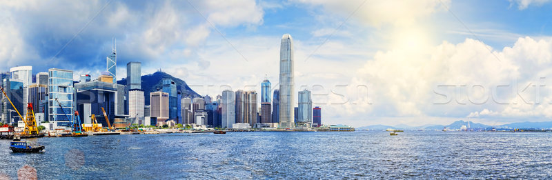 Hong Kong haven promenade stad landschap Stockfoto © cozyta