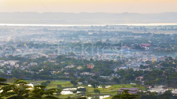 Zonsondergang meer bergen heuvel birma groene Stockfoto © cozyta