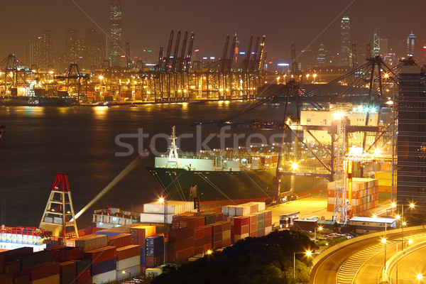 container terminal at night in city Stock photo © cozyta