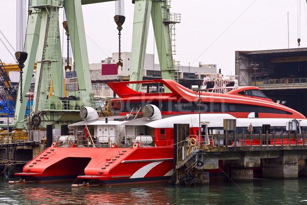 Catamaran ferry in maintain harbor Stock photo © cozyta
