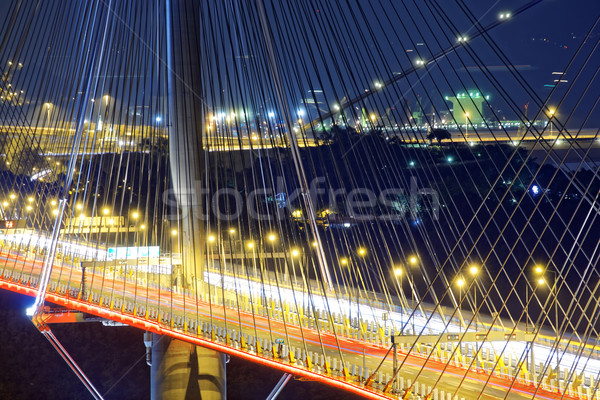 highway bridge at night with traces of light traffic Stock photo © cozyta