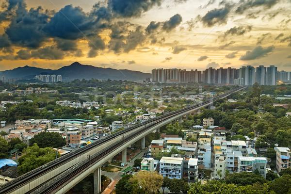 Hong-Kong urbaine centre-ville coucher du soleil vitesse train Photo stock © cozyta