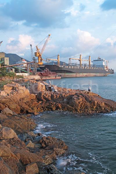 Dokk tenger víz városi ipar kő Stock fotó © cozyta
