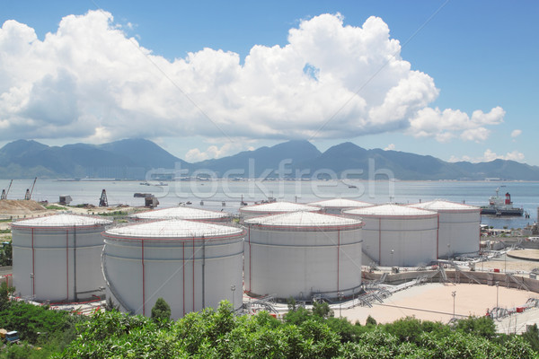 Stockfoto: Gas · container · Hong · Kong · bouw · groene · industrie