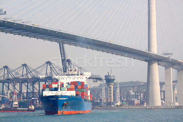 container ship and modern bridge Stock photo © cozyta