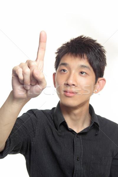 Hand wijzend witte Bangkok Maakt een reservekopie target Stockfoto © cozyta