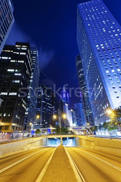 Hong Kong guarda-chuva revolução cena noturna negócio estrada Foto stock © cozyta