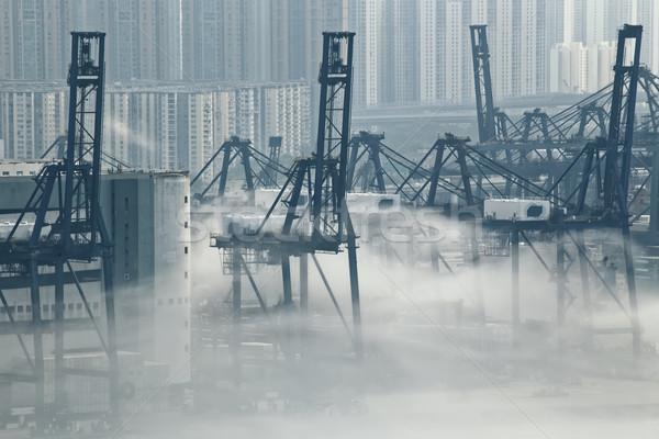 Stok fotoğraf: Hong · Kong · kargo · liman · buğu · şehir · tekne