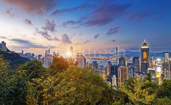 Hong Kong City Sunset Stock photo © cozyta