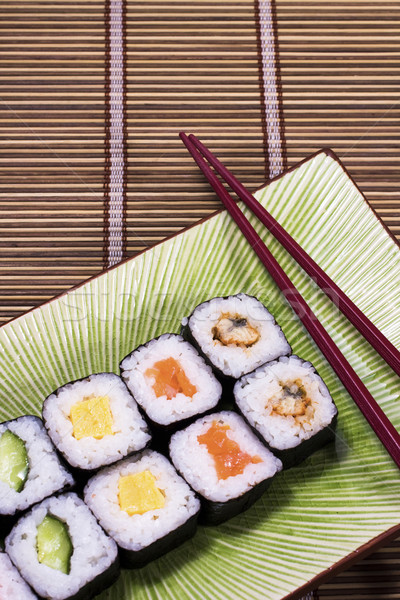 Sushis table texture alimentaire poissons Photo stock © cozyta