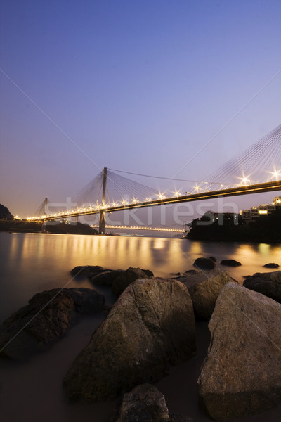 It is beautiful night scenes of Bridge in Hong Kong. Stock photo © cozyta