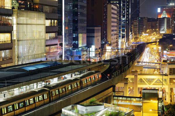 Hong Kong nocturna de la ciudad centro de la ciudad noche edificio paisaje Foto stock © cozyta