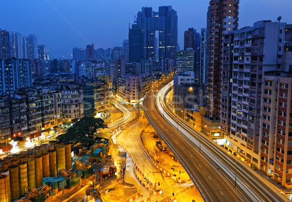 Hong Kong downtown at night Stock photo © cozyta