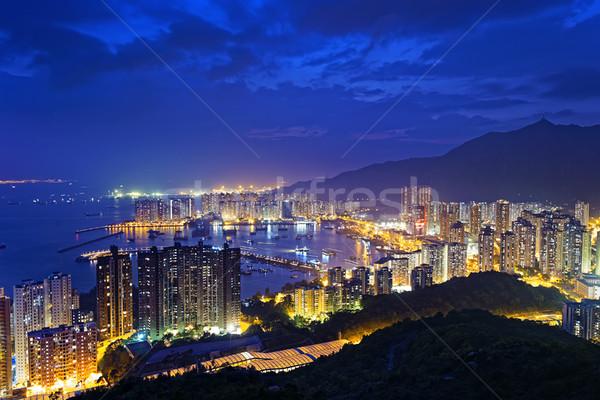 Tuen Mun skyline and South China sea at night Stock photo © cozyta