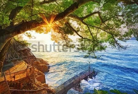 Naplemente Hongkong fürdik tengerpart víz természet Stock fotó © cozyta