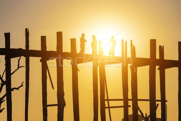 U bein bridge sunset Stock photo © cozyta