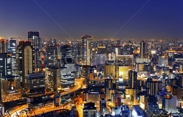Osaka gece Japonya panoramik görmek iş Stok fotoğraf © cozyta