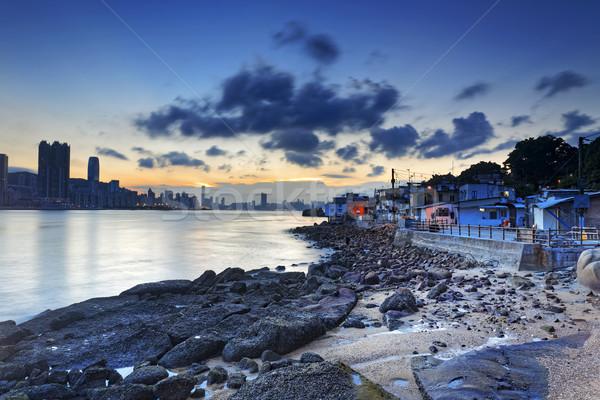 Pesca pueblo magia hora cielo sol Foto stock © cozyta