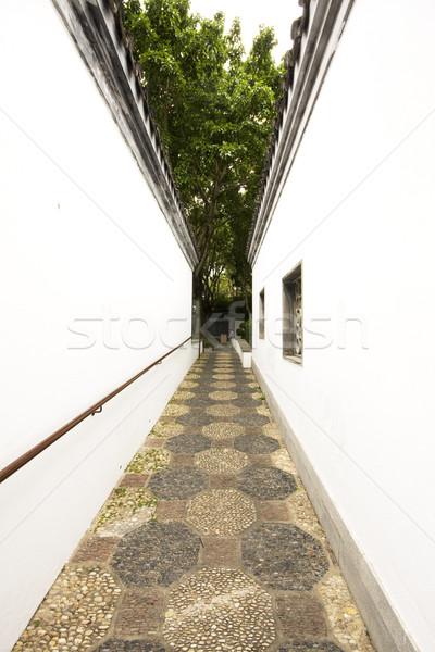 Stok fotoğraf: Çin · stil · koridor · geniş · bahçe · ağaçlar