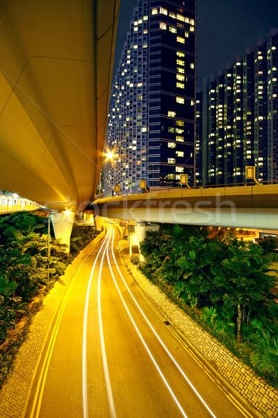 Stok fotoğraf: Modern · kentsel · şehir · Hong · Kong · gece · araba