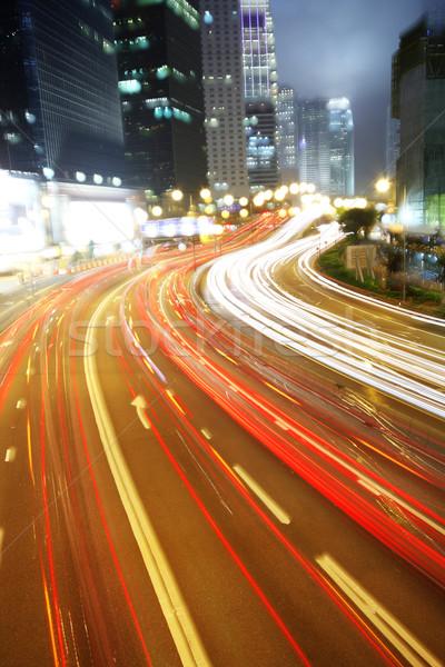 Stockfoto: Snel · bewegende · auto · nacht · wolken · stad