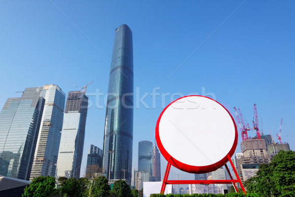 chinese big drum and modern city as background for advertising Stock photo © cozyta