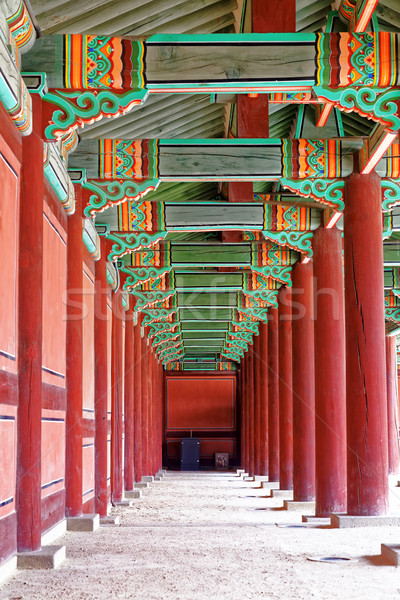 Korytarzu starożytnych pałac Seul budynku drewna Zdjęcia stock © cozyta