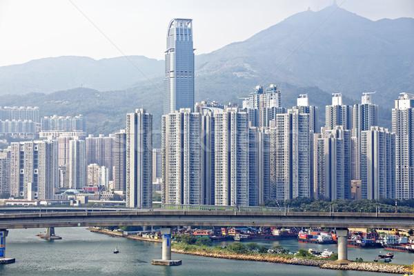 Tren köprü Hong Kong şehir merkezinde şehir Stok fotoğraf © cozyta