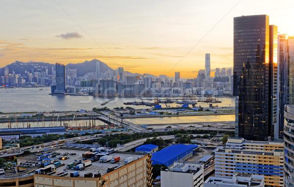 Stockfoto: Hong · Kong · zonsondergang · business · hemel · kantoor