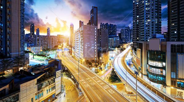 Hong Kong downtown night Stock photo © cozyta