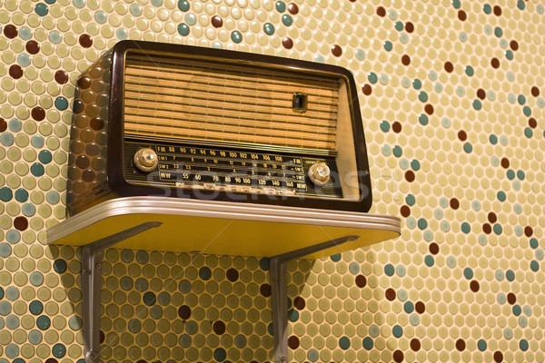 vintage radio on yellow background  Stock photo © cozyta