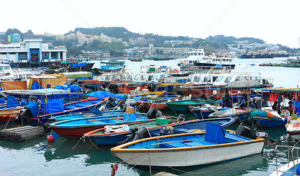 Fishing and house boats anchored in Cheung Chau harbour. Hong Ko Stock photo © cozyta