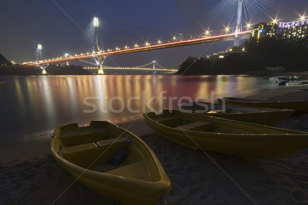 Stok fotoğraf: Güzel · gece · köprü · Hong · Kong · gökyüzü · su