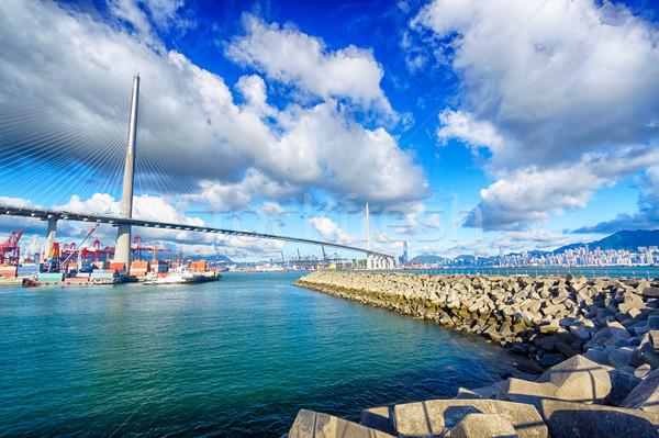 Foto stock: Puerto · almacén · industrial · vista · puente · agua