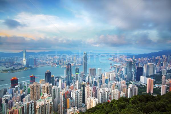 Hong Kong skyline from Victoria Peak at sunrise  Stock photo © cozyta