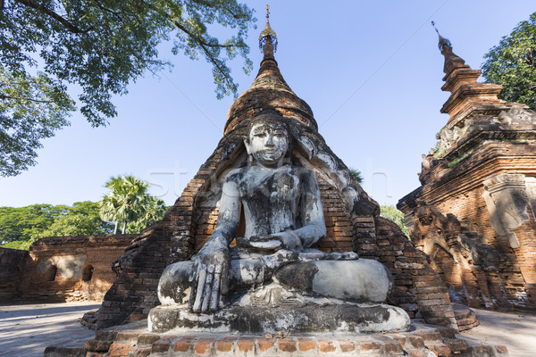 Buda Mianmar birmânia ponte viajar estátua Foto stock © cozyta
