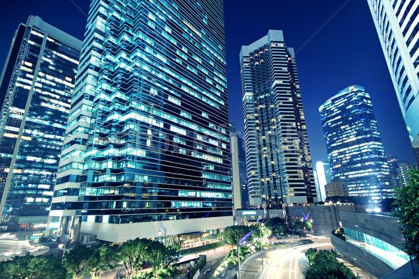 Stockfoto: Lang · kantoorgebouwen · nacht · textuur · gebouw · glas