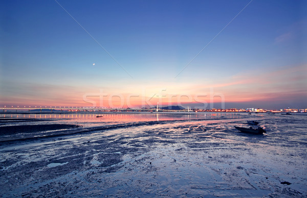 sunset in hongkong and kong sham western highway Stock photo © cozyta
