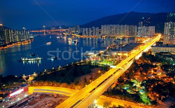 Miejskich Night City działalności niebo drzewo budynku Zdjęcia stock © cozyta