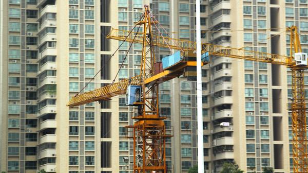 épület felhőkarcoló kettő torony ház építkezés Stock fotó © cozyta