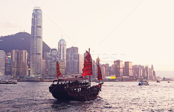 Chinese sailing ship in Hong Kong Victoria Habour  Stock photo © cozyta