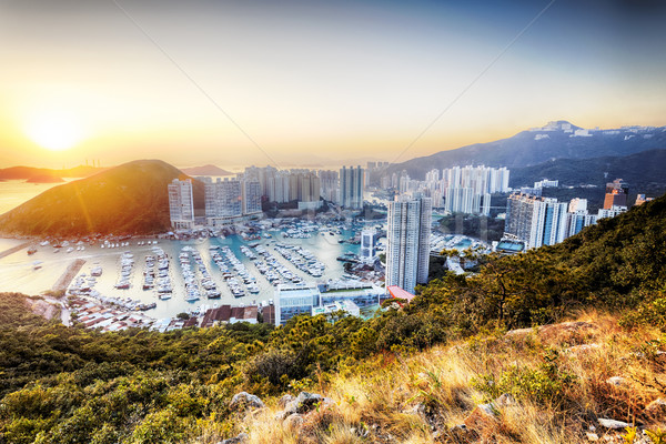 Hong Kong business hemel gebouw abstract zonsondergang Stockfoto © cozyta